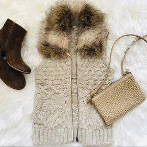 LOFT Faux Fur Wool Vest